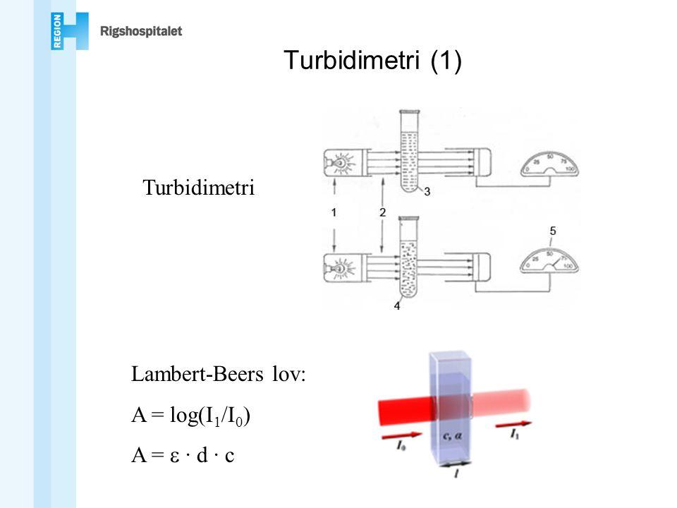 Turbidimetri (1) Turbidimetri Lambert-Beers lov: A = log(I1/I0)