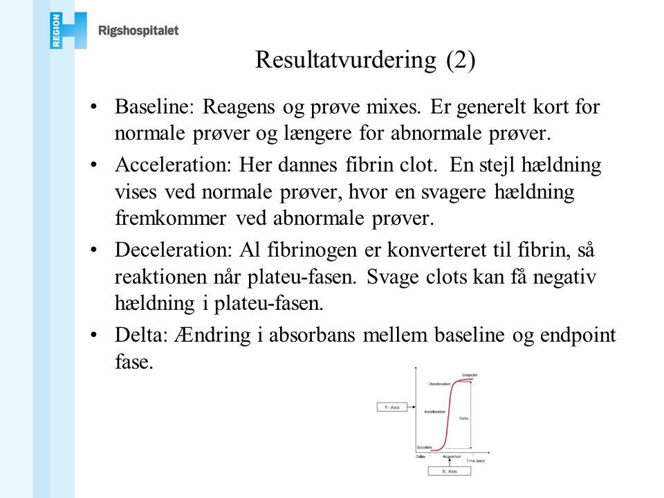 Resultatvurdering (2) Baseline: Reagens og prøve mixes. Er generelt kort for normale prøver og længere for abnormale prøver.