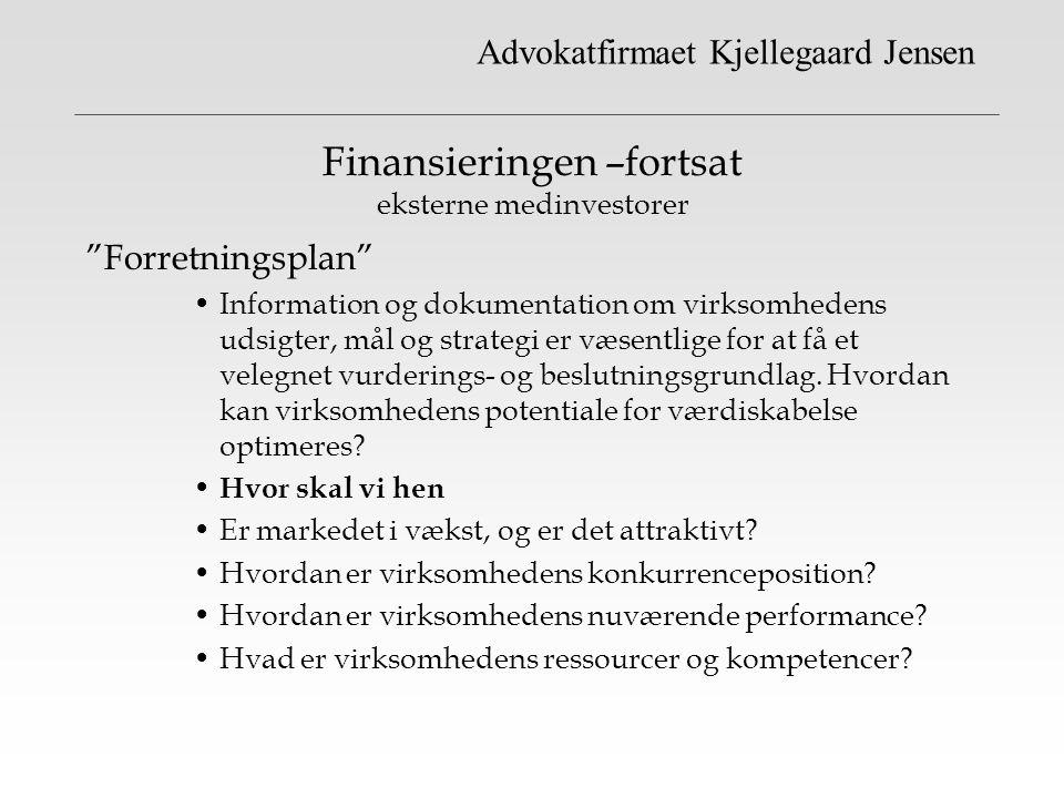 Finansieringen –fortsat eksterne medinvestorer
