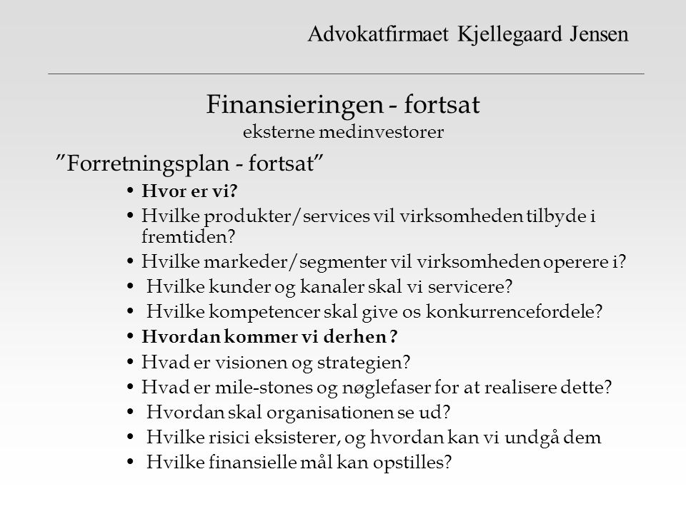 Finansieringen - fortsat eksterne medinvestorer