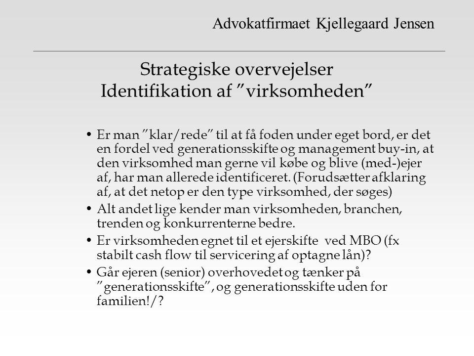 Strategiske overvejelser Identifikation af virksomheden