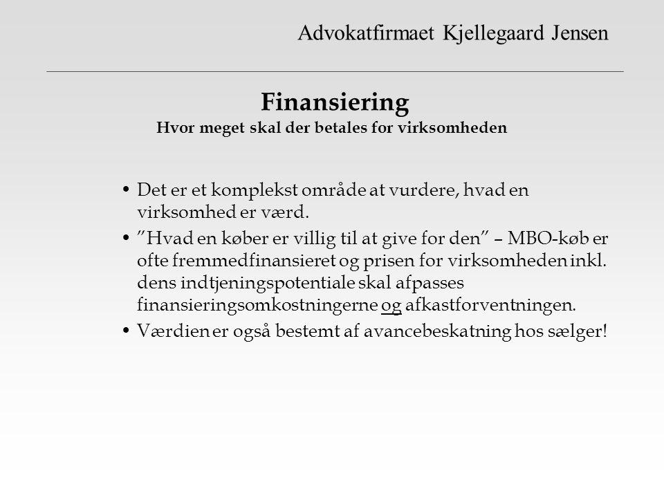 Finansiering Hvor meget skal der betales for virksomheden