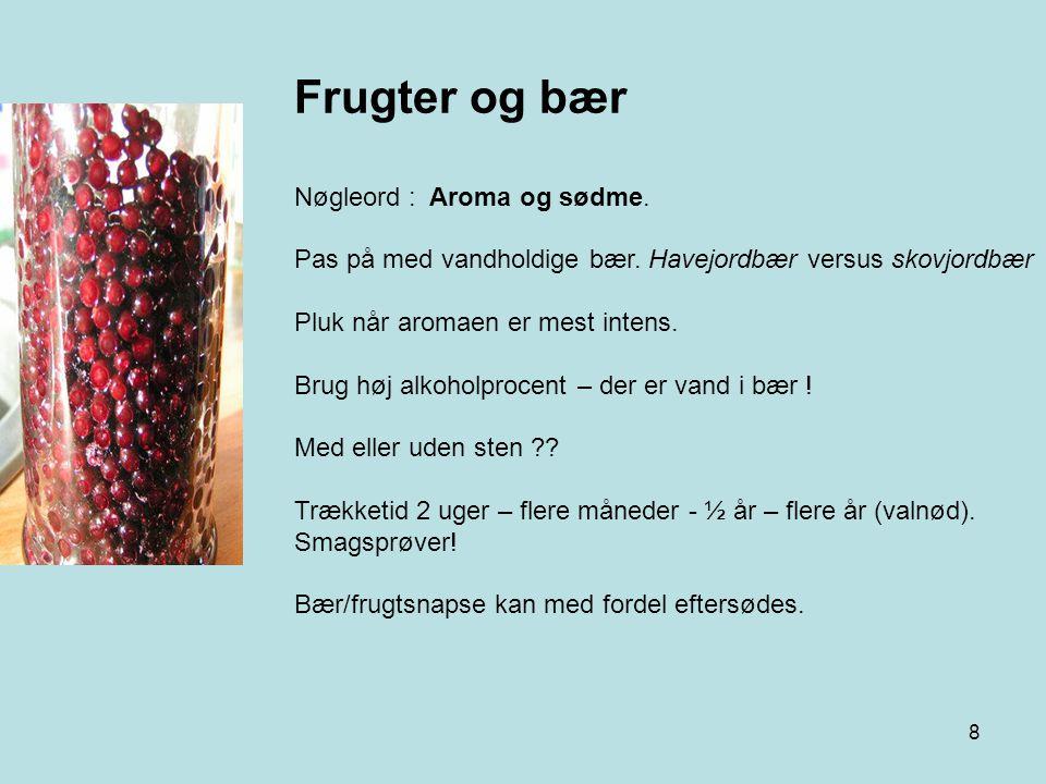 Frugter og bær Nøgleord : Aroma og sødme.
