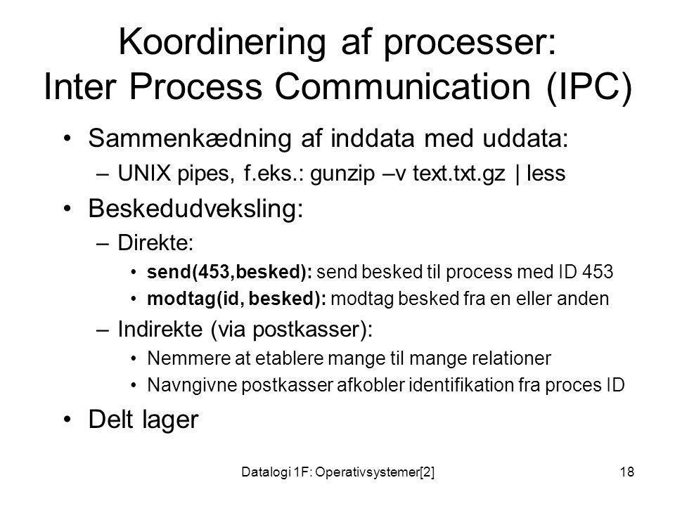 Koordinering af processer: Inter Process Communication (IPC)