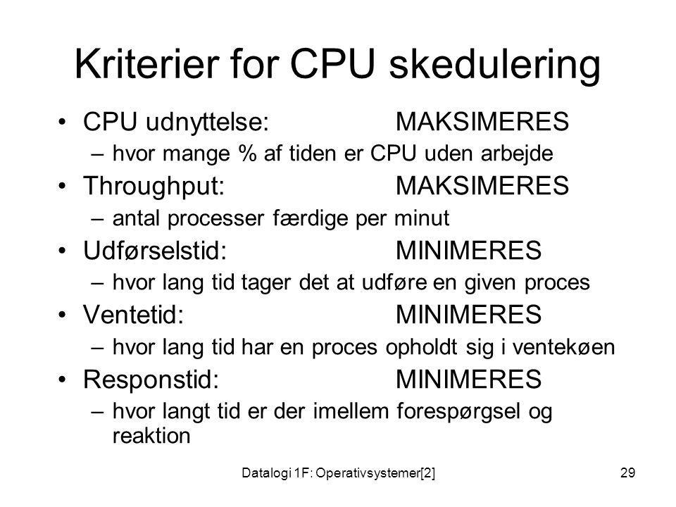 Kriterier for CPU skedulering