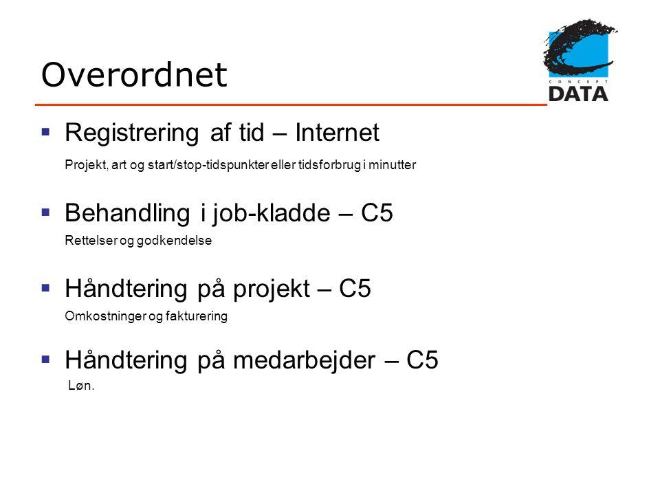 Overordnet Registrering af tid – Internet Behandling i job-kladde – C5