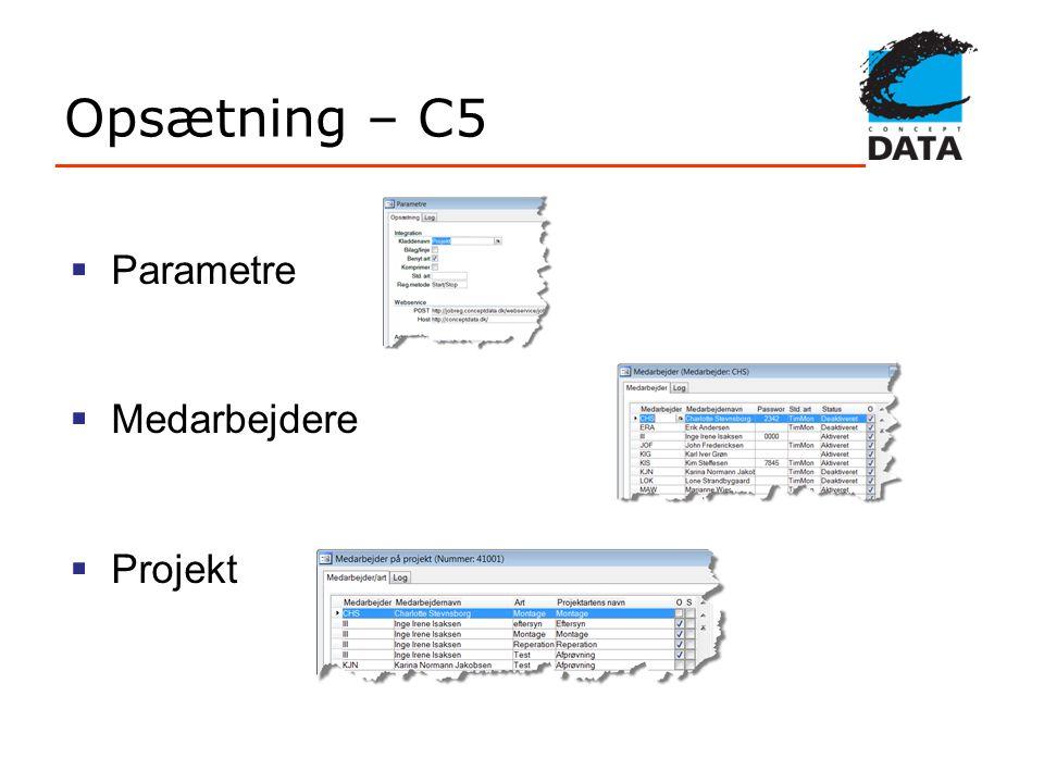 Opsætning – C5 Parametre Medarbejdere Projekt