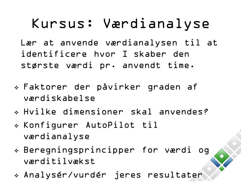 Kursus: Værdianalyse Lær at anvende værdianalysen til at identificere hvor I skaber den største værdi pr. anvendt time.