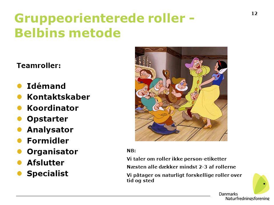 Gruppeorienterede roller - Belbins metode