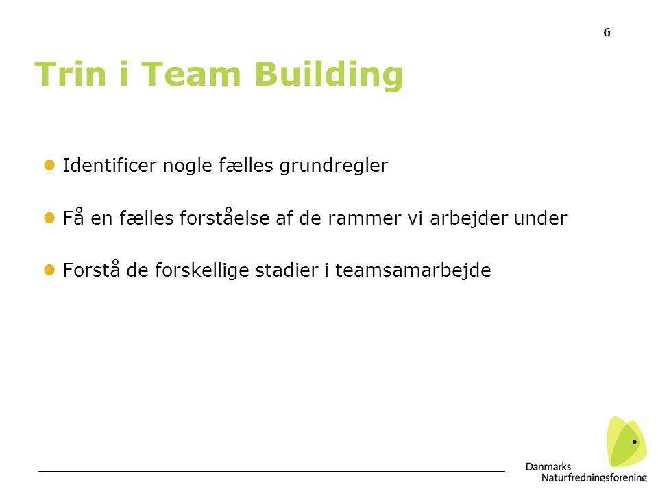 Trin i Team Building Identificer nogle fælles grundregler
