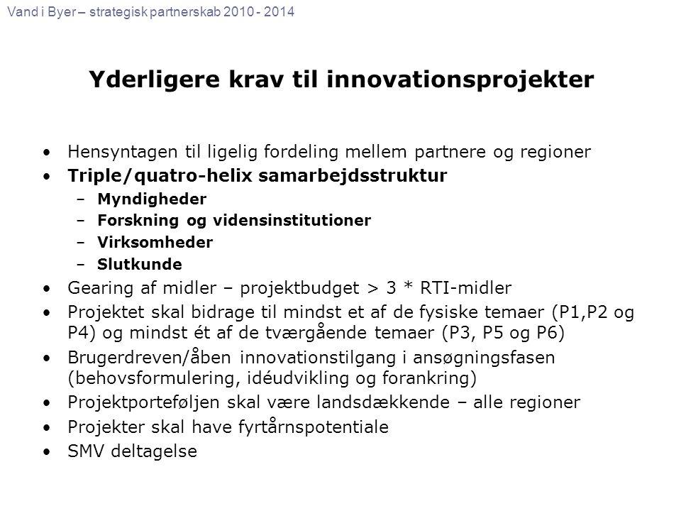 Yderligere krav til innovationsprojekter