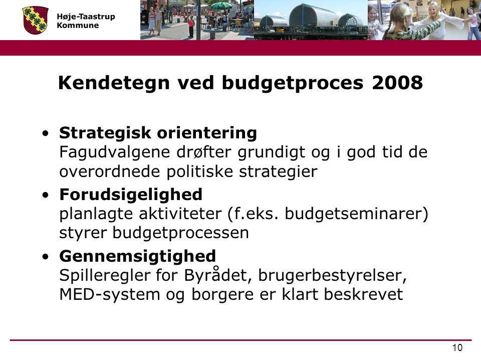 Kendetegn ved budgetproces 2008
