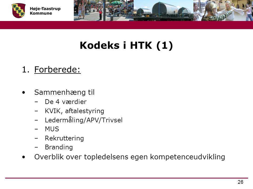Kodeks i HTK (1) Forberede: Sammenhæng til