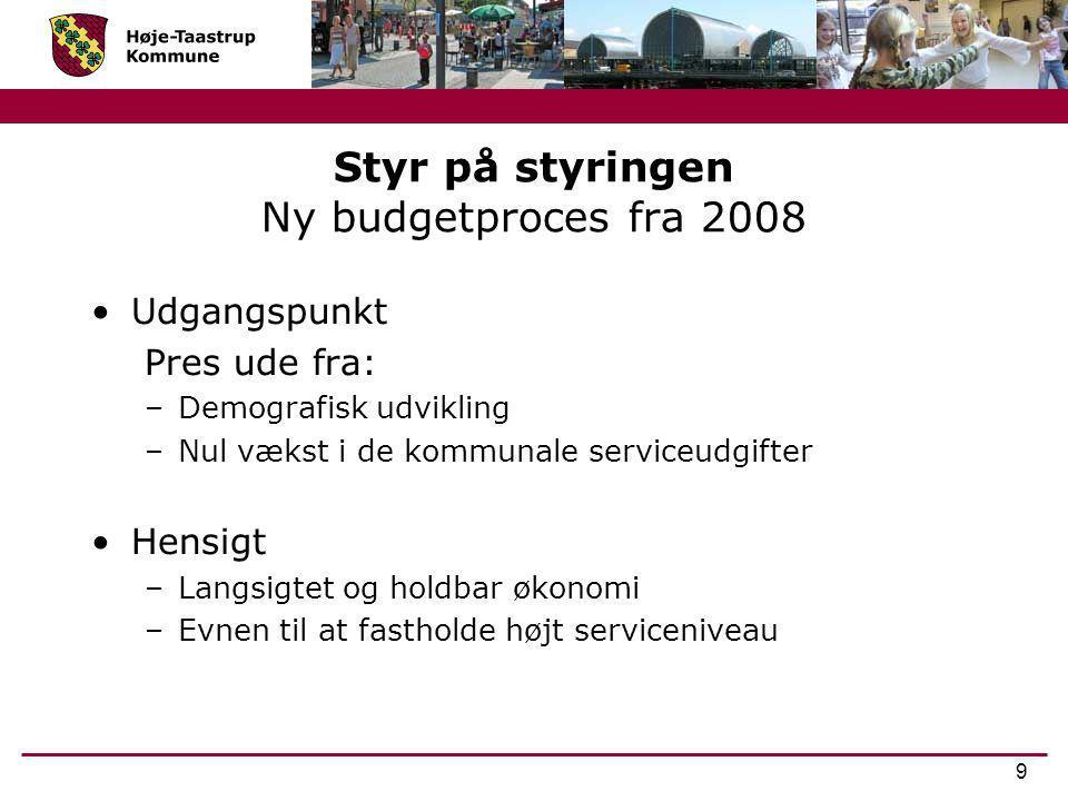 Styr på styringen Ny budgetproces fra 2008