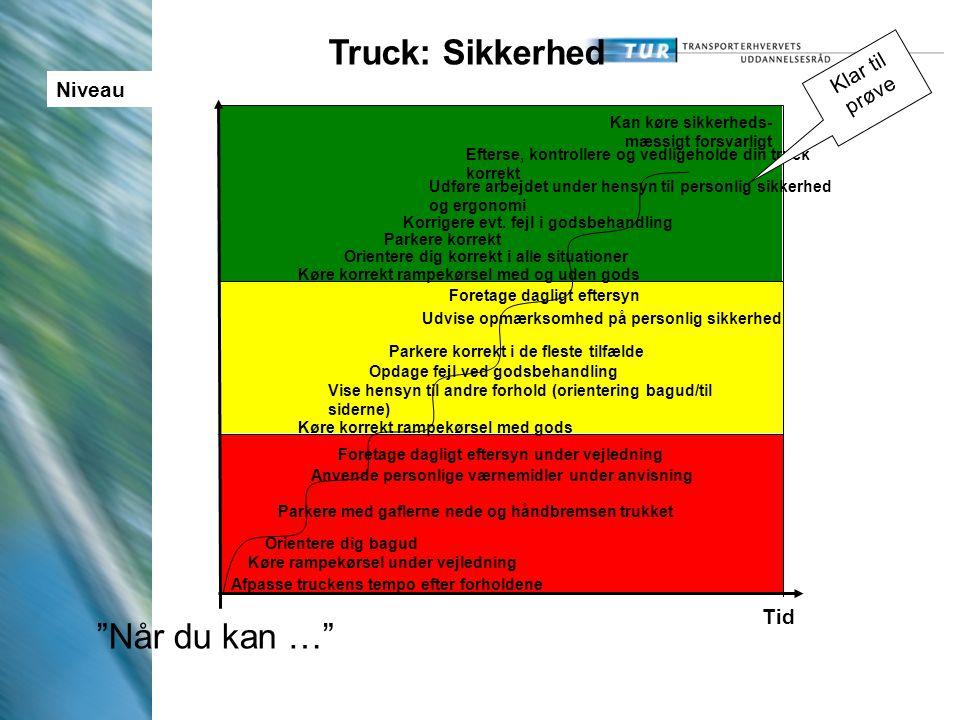 Truck: Sikkerhed Når du kan … Klar til prøve Niveau Tid