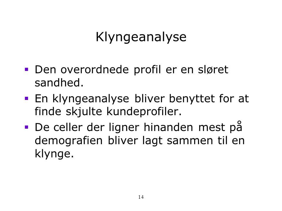 Klyngeanalyse Den overordnede profil er en sløret sandhed.