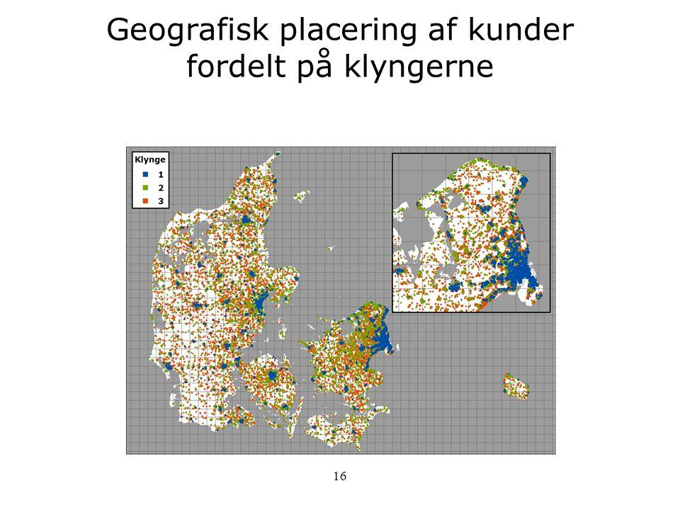 Geografisk placering af kunder fordelt på klyngerne