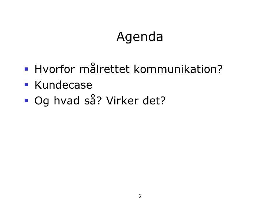Agenda Hvorfor målrettet kommunikation Kundecase
