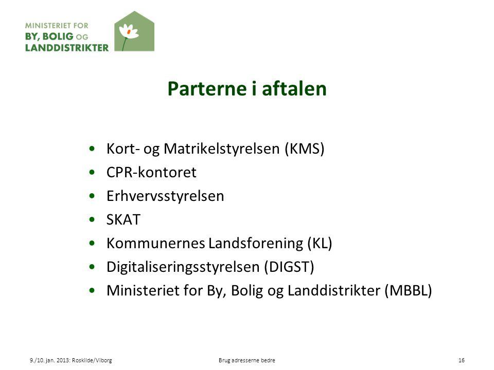 Parterne i aftalen Kort- og Matrikelstyrelsen (KMS) CPR-kontoret