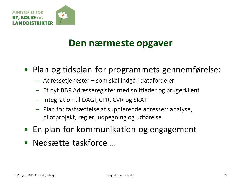 Den nærmeste opgaver Plan og tidsplan for programmets gennemførelse: