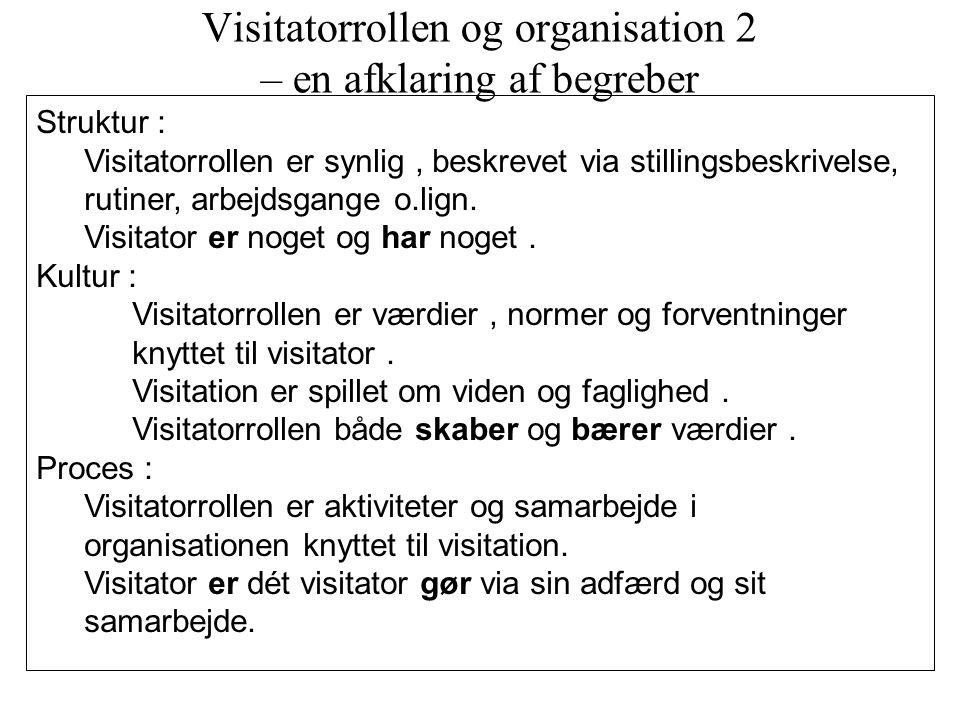 Visitatorrollen og organisation 2 – en afklaring af begreber
