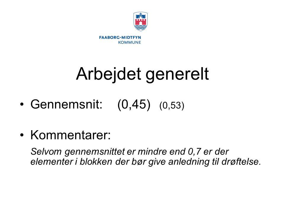 Arbejdet generelt Gennemsnit: (0,45) (0,53) Kommentarer:
