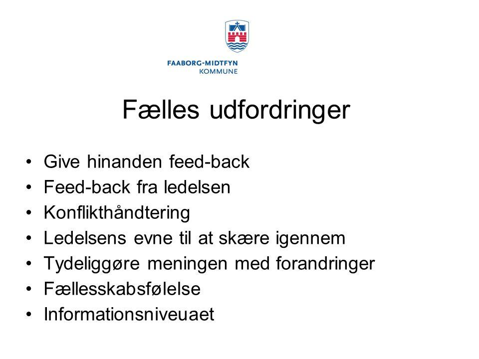 Fælles udfordringer Give hinanden feed-back Feed-back fra ledelsen