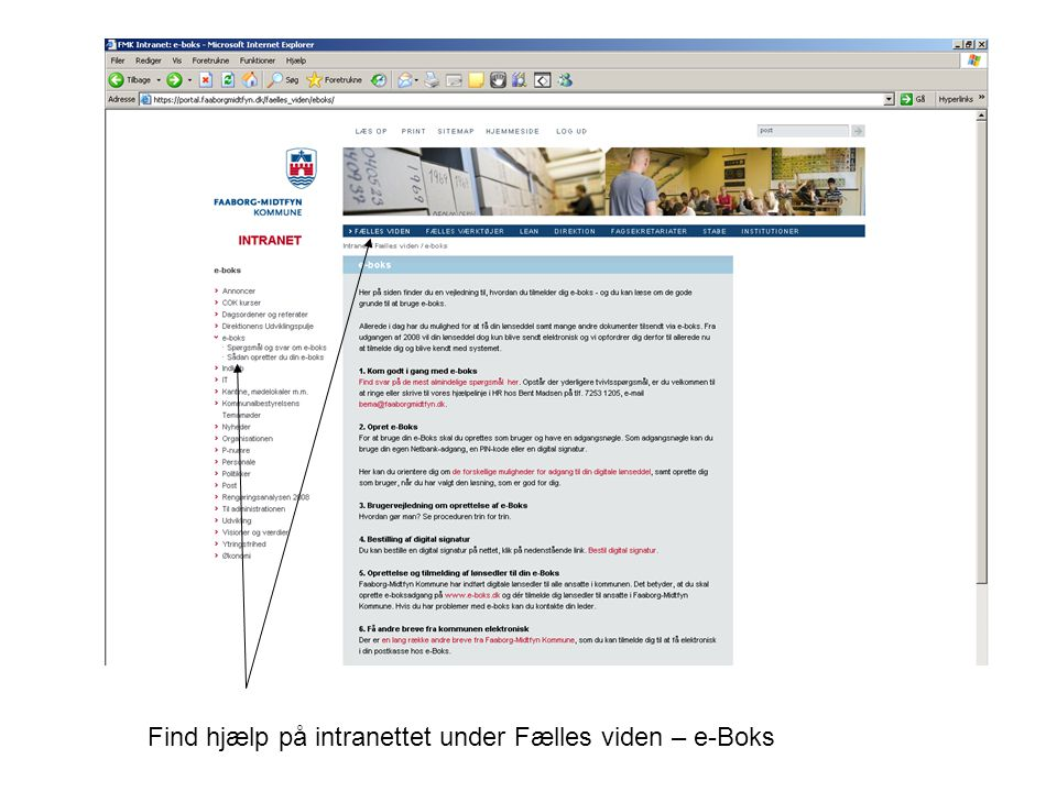 Find hjælp på intranettet under Fælles viden – e-Boks