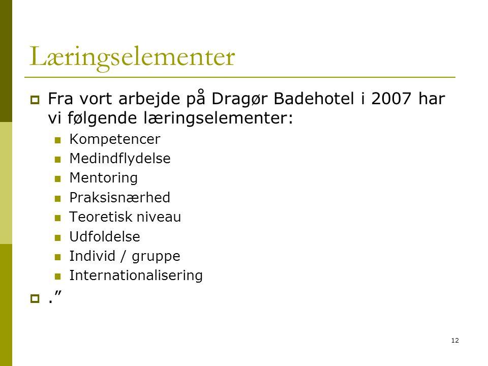 Læringselementer Fra vort arbejde på Dragør Badehotel i 2007 har vi følgende læringselementer: Kompetencer.