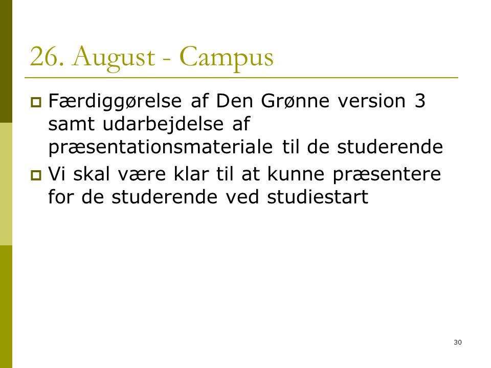 26. August - Campus Færdiggørelse af Den Grønne version 3 samt udarbejdelse af præsentationsmateriale til de studerende.
