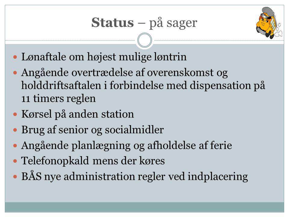 Status – på sager Lønaftale om højest mulige løntrin