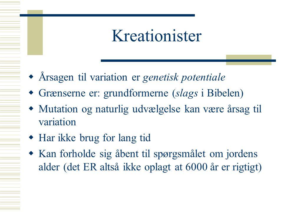 Kreationister Årsagen til variation er genetisk potentiale