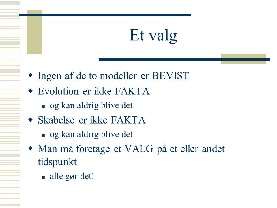 Et valg Ingen af de to modeller er BEVIST Evolution er ikke FAKTA