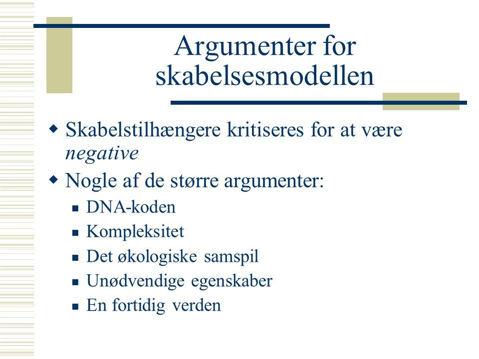 Argumenter for skabelsesmodellen