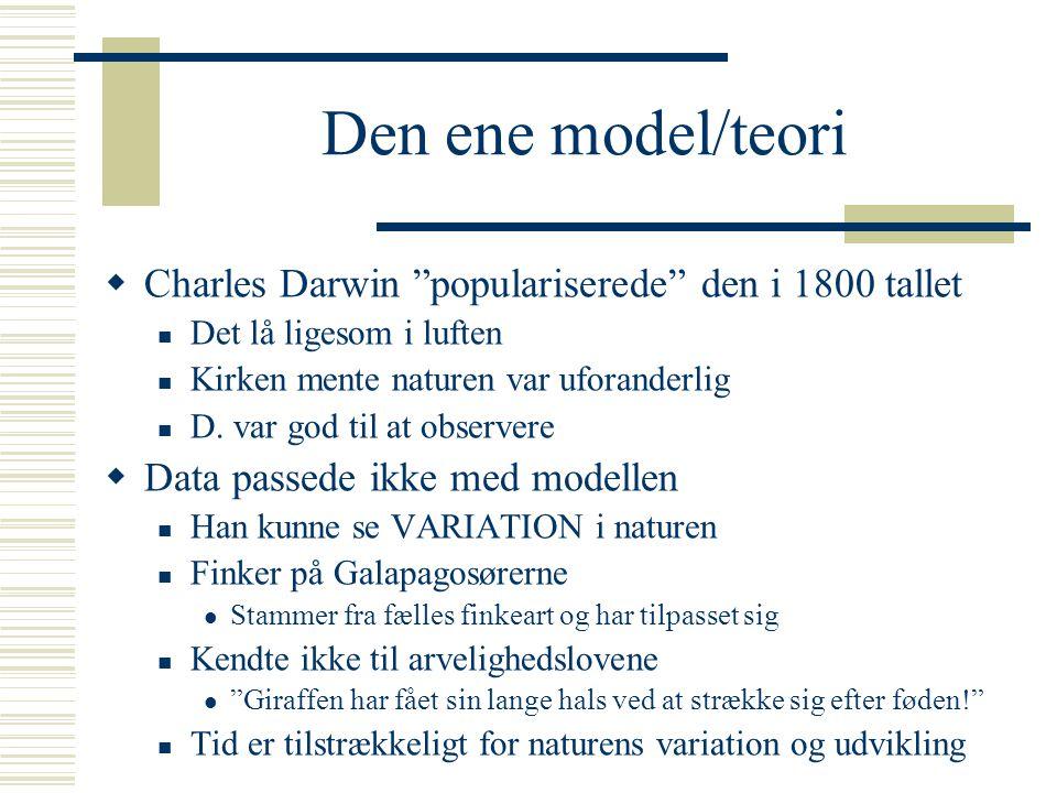 Den ene model/teori Charles Darwin populariserede den i 1800 tallet
