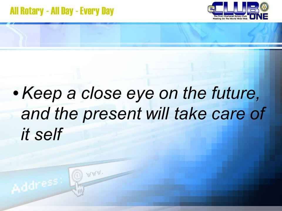Keep a close eye on the future, and the present will take care of it self