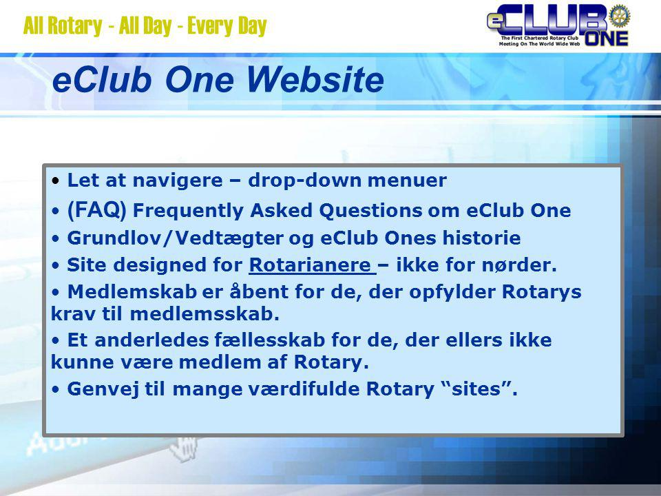 eClub One Website Let at navigere – drop-down menuer