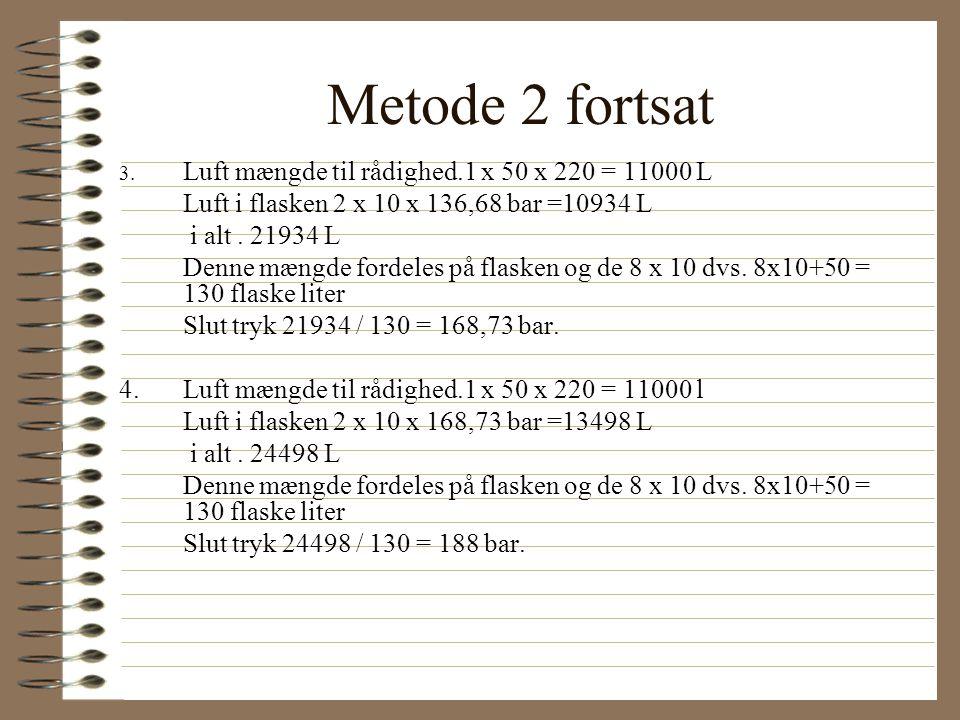 Metode 2 fortsat Luft i flasken 2 x 10 x 136,68 bar =10934 L