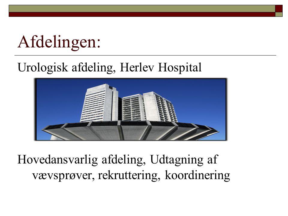 Afdelingen: Urologisk afdeling, Herlev Hospital Hovedansvarlig afdeling, Udtagning af vævsprøver, rekruttering, koordinering