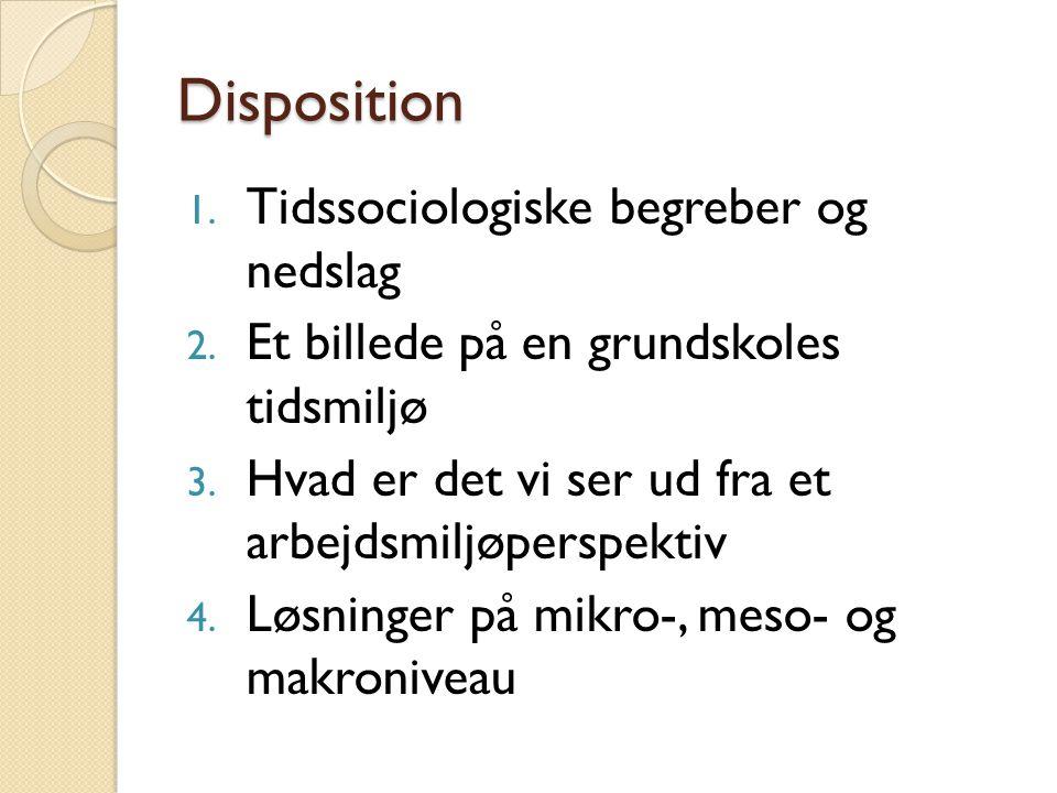 Disposition Tidssociologiske begreber og nedslag