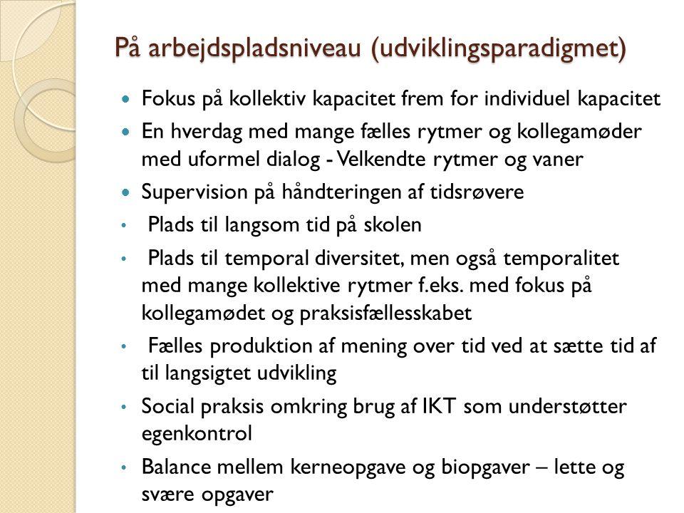 På arbejdspladsniveau (udviklingsparadigmet)