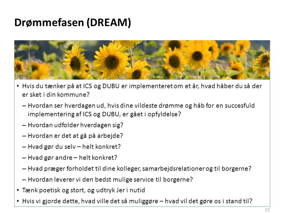 Drømmefasen (DREAM) Hvis du tænker på at ICS og DUBU er implementeret om et år, hvad håber du så der er sket i din kommune