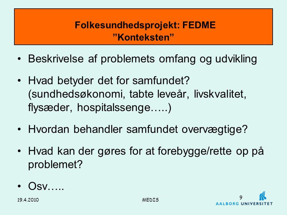 Folkesundhedsprojekt: FEDME Konteksten