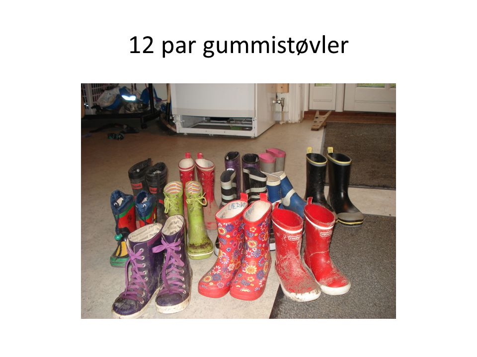 12 par gummistøvler