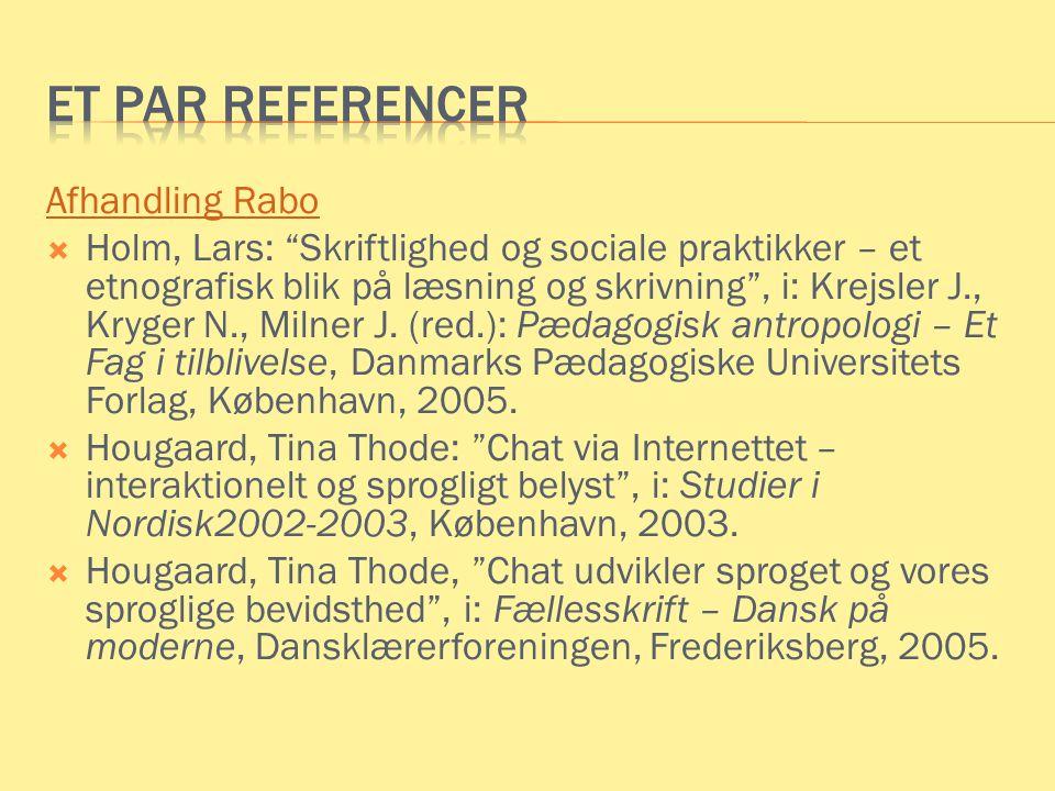 Et par referencer Afhandling Rabo