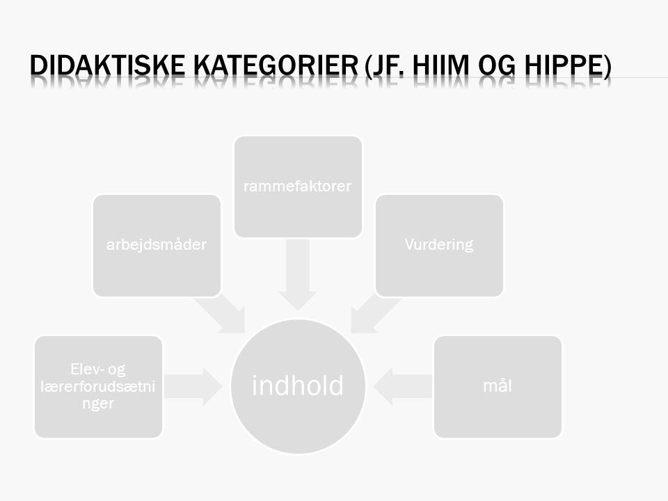 Didaktiske kategorier (jf. Hiim og Hippe)