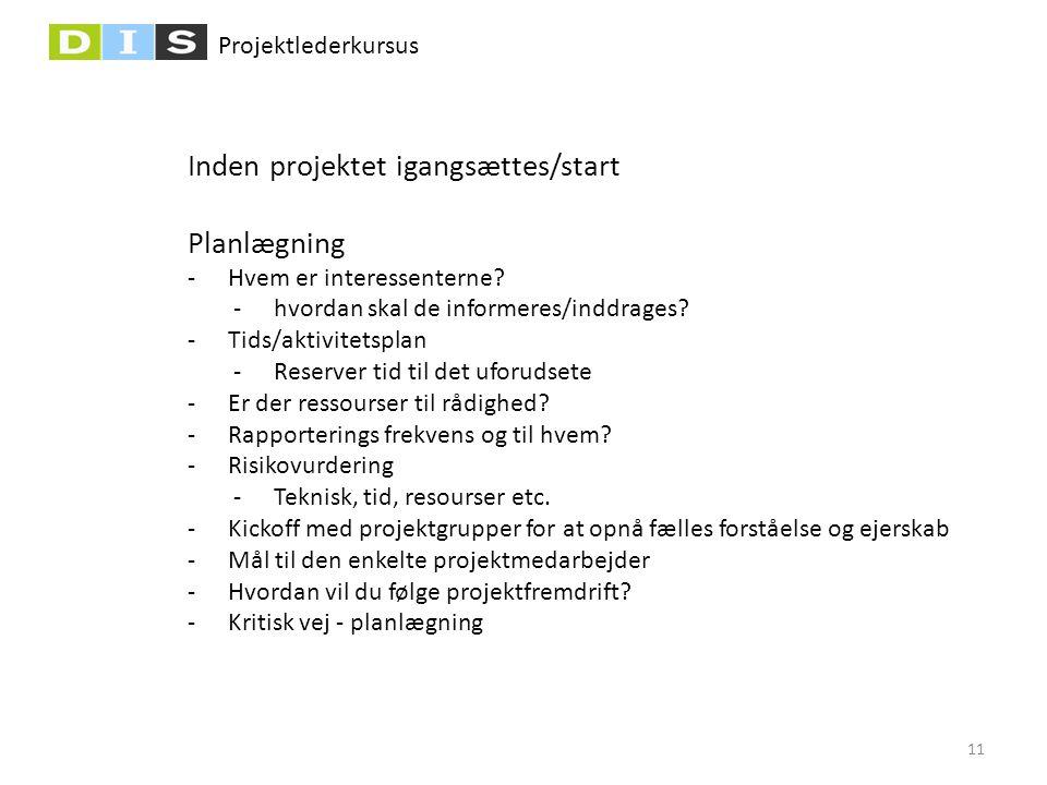Inden projektet igangsættes/start Planlægning