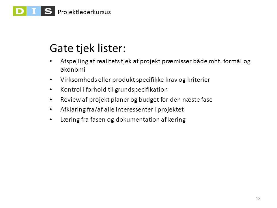 Gate tjek lister: Afspejling af realitets tjek af projekt præmisser både mht. formål og økonomi.