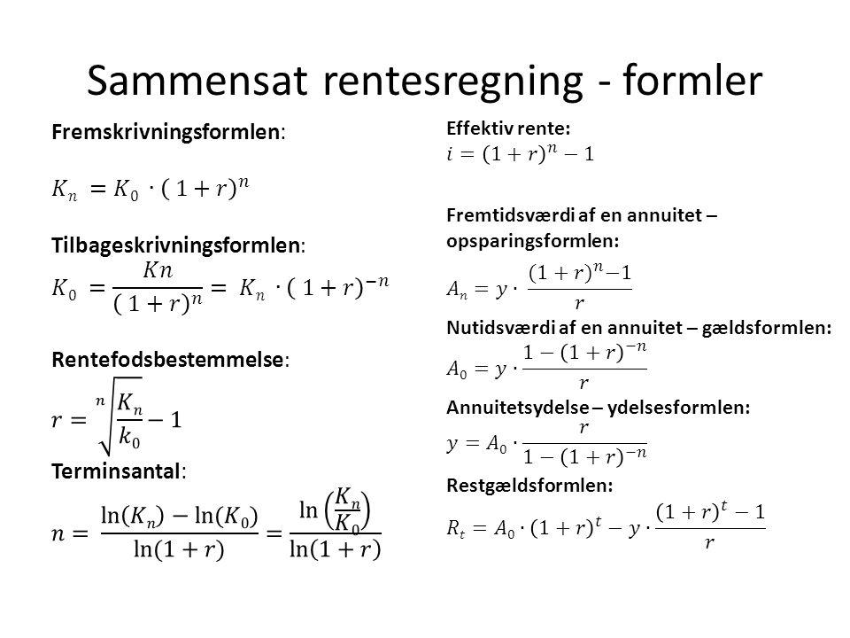 Sammensat rentesregning - formler