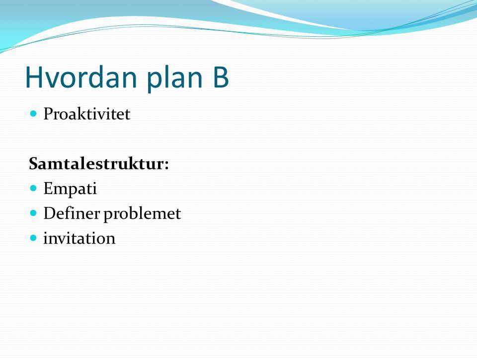 Hvordan plan B Proaktivitet Samtalestruktur: Empati Definer problemet